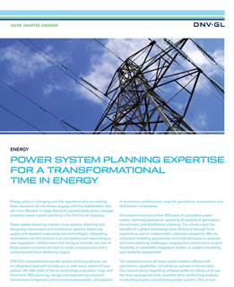 Power system planning expertise for a transformational time in energy